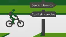 Representación gráfica de un ciclista en un sendero