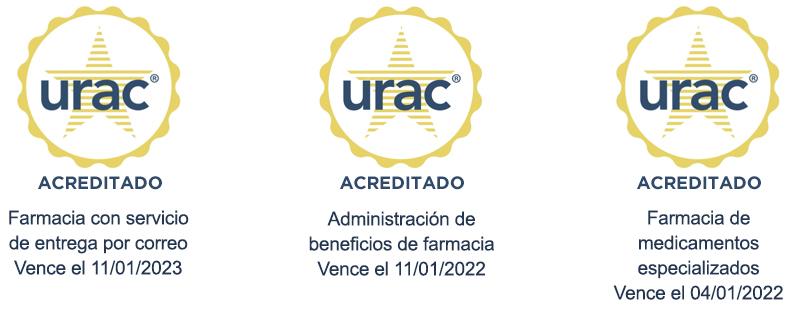 Sellos de acreditación de URAC para la farmacia con servicio deentrega por correo, lacoordinación de beneficios de farmacia y la farmacia de medicamentos especializados