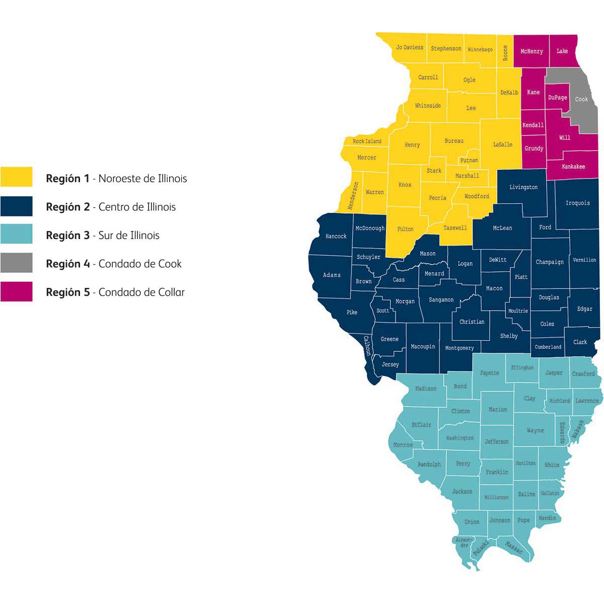 Mapa de las regiones de Illinois] [alt text: mapa de las regiones de Illinois cubiertas de Humana Medicaid